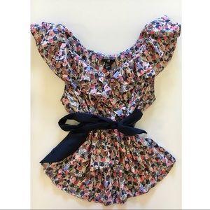 H&M floral ruffle blouse